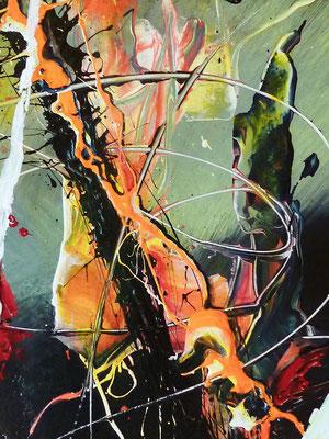 """Ausschnitt """"Beschreibung einer Seele"""" Acryl auf Holz 80 x 100"""