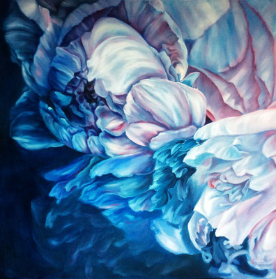 Peonies, 100x100cm, oil on canvas, sold