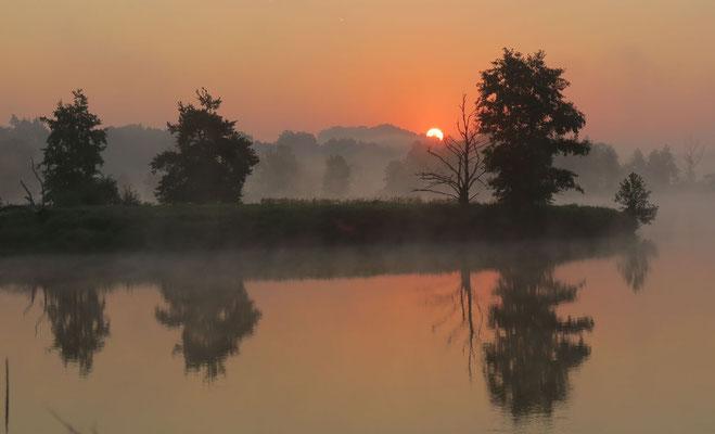 Sonnenaufgang am Weiher; Foto: Annelies Neumann