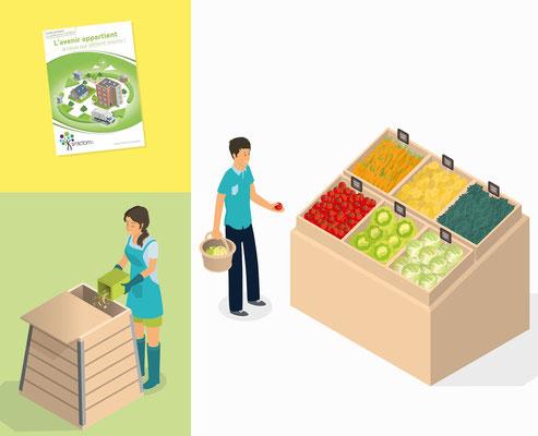 Conception illustration et mise en page, brochure taxe incitative Smictom (Vitré).