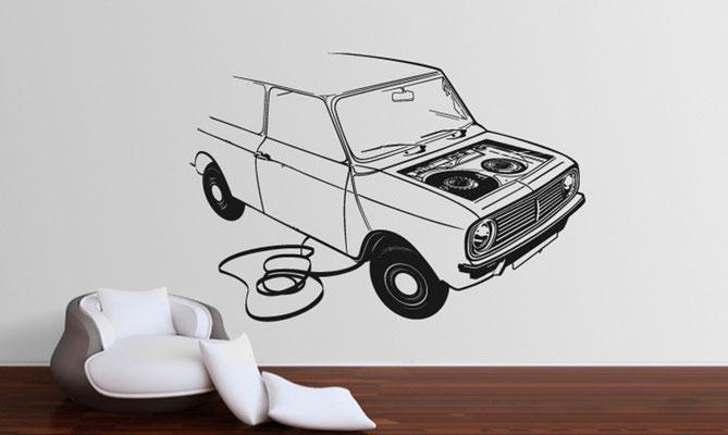 "Conception illustration, sticker mural ""Audiotape car""  Amkashop ."