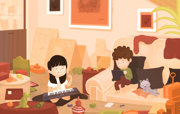 """Illustration jeunesse """"Jeux intérieurs""""."""