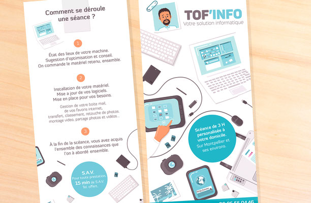 Illustrations et mise en page flyer Toff info (Montpellier).