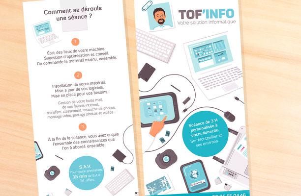 Conception illustrations et mise en page flyer Toff info (Montpellier).