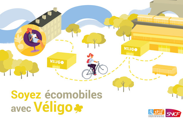 Conception illustrations et mise en page Mock up  Véligo.
