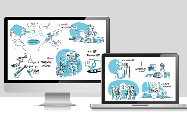 Conception illustrations, videoscribing (Animation, montage, Christophe Marchand).