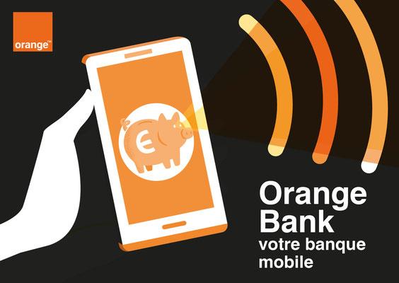 Conception illustrations et mise en page Mock up  Orange Bank.