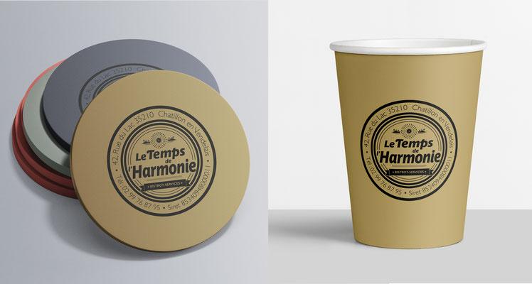 """Conception logotype et enseigne circulaire et rectangulaire, """"le temps de l'harmonie"""" (Chatillon en vendelais )."""