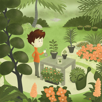 "Illustration jeunesse ""Paradis verts""."