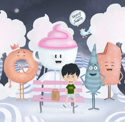 """Illustration jeunesse """"Dreams about sweets""""."""