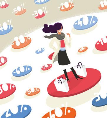 Illustrations et mise en page Mock up Soldes hiver.