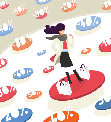 Conception illustrations et mise en page Mock up Soldes hiver.