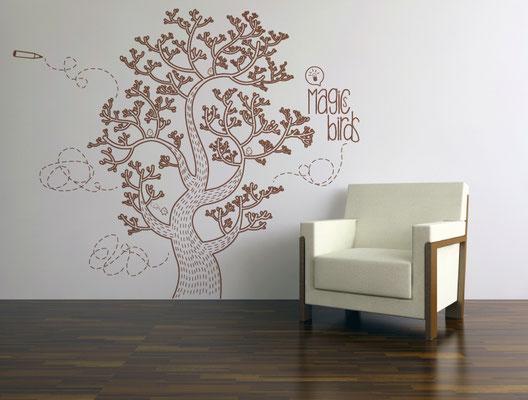 "Conception illustration, sticker mural ""Magics birds""."