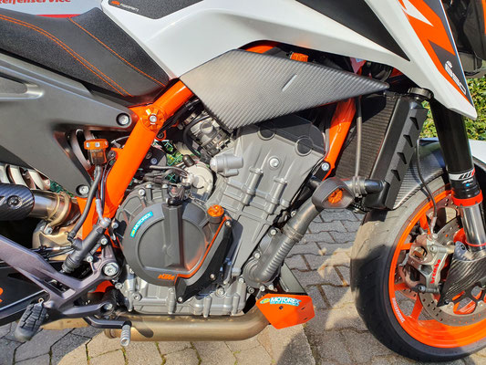 Motordeckelschutz,  Evotech Alu Verschlussdeckel Öl + Wasser + Bremsfl. + Rahmensturzpads