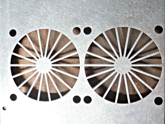 Protection ventilateur réalisée en aluminium AG3 en 1 mm