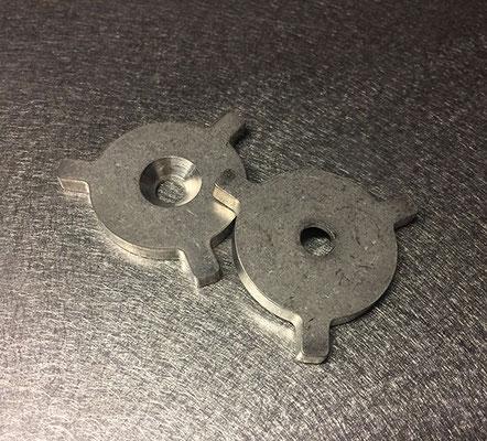 Pièce en Inox 304L 2B, épaisseur 4 mm, dimensions 36,50 x 39,01