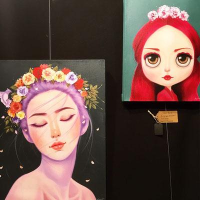 Zwei kleine Gemälde von Ronakorn Posayawat gab es bei mir zu entdecken