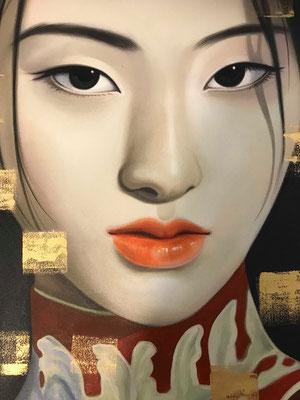 """Ausschnitt aus """"Asian Face - Red"""" von Ronakorn Posayawat"""