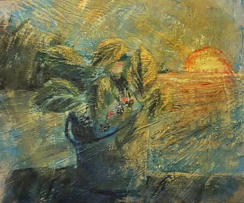 """""""Brombeeren am Steg"""", Acryl, 50x70 (verschenkt)"""