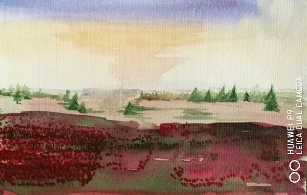 Landschaft mit Mohn, Aquarell, 30x40, € 50, 00