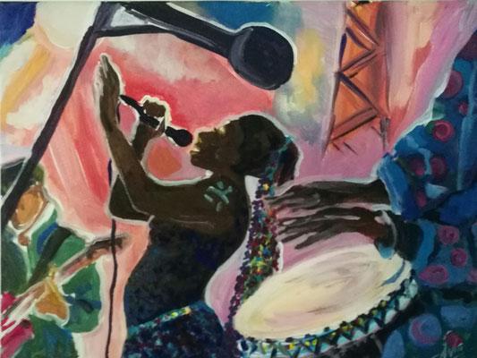 """""""Jazz, Afrika Taxi Blues"""", Acryl, 30x40, € 150,00"""