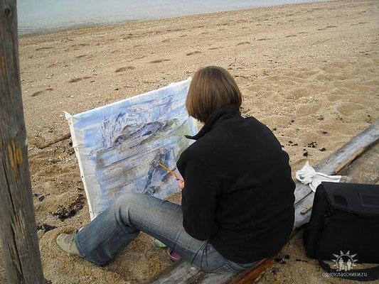"""Foto beim Malen des Bildes """"Am Olchon Ufer"""""""