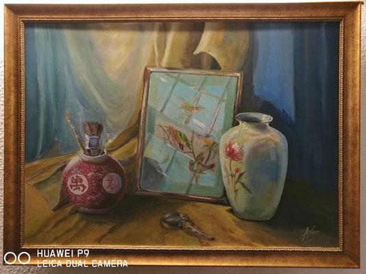 Chinseisches Stillleben, Acryl, 70x50, € 230,00