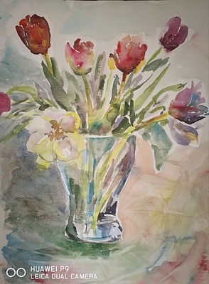 """""""Tulpen"""", Aquarell, 30x40, € 40,00 -das Bild hat einen neunen Besitzer gefunden!"""