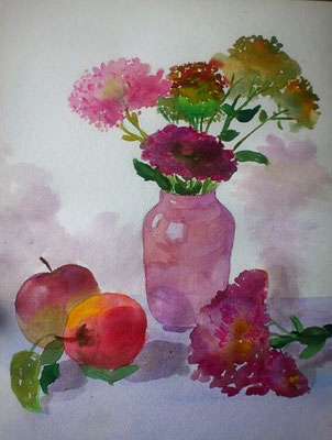 Stillleben mit Vase, Aquarell, 30x40, € 80, 00