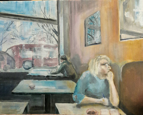 Im Café, Acryl, 40x50, € 80,00