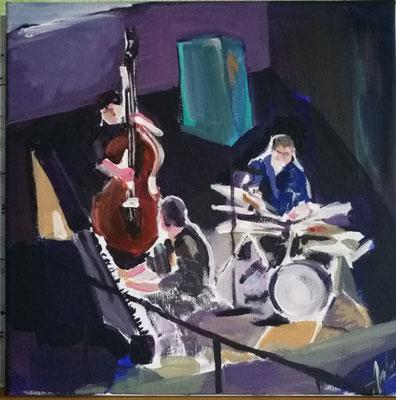 """Jazz aufder Kellerbühne"", Acryl 30x30, € 150,00"