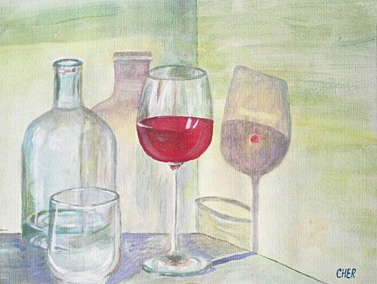 Stillleben mit dem Rotweinglass, Acryl, 40x30, € 45,00