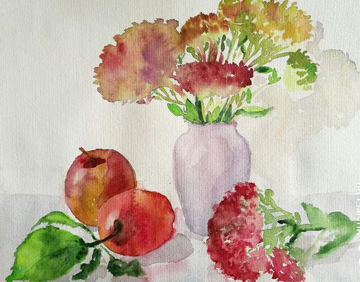 """""""Stillleben mit Vase"""", Aquarell, 30x40, € 70,00"""