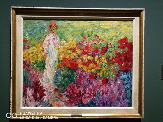 Emil Nolde, Blumengarten, frau im weißen Kleid en face, 1908, Ausstellung in Georg Schäfer Museum 2018