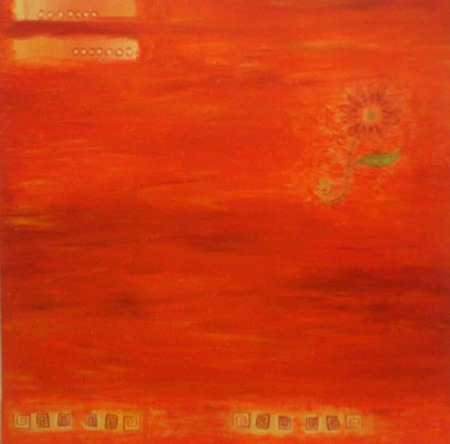 Orangene Fantasie, Acryl, Collage, 40x40, €50,00