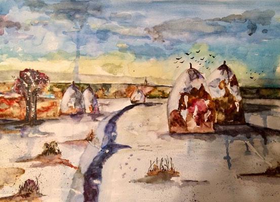 Winterlandschaft 2, Aquarell, 30x40, € 100,00