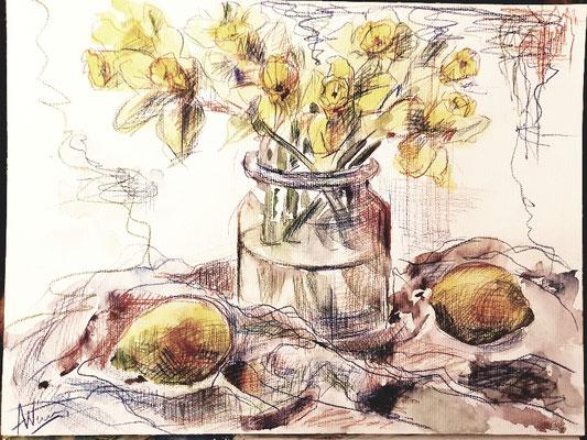 Stillleben mit Zitronen, Aquarell, Stift, 40x50, €120,00