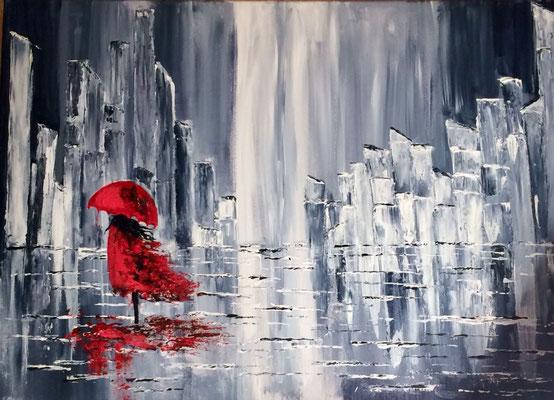 """""""Regen in der Stadt"""", Acryl, 50x70, leider schon verkauft"""
