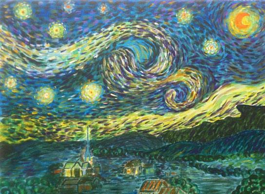 Nach Van Gogh, Acryl, 40x30, € 60,00