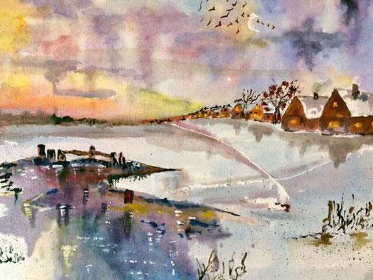 Winterlandschaft, Aquarell, 30x40, € 100,00