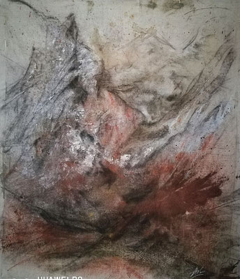 """Sajan Gebirge I"", Kohle, Tusche, 60x75, € 350,00"