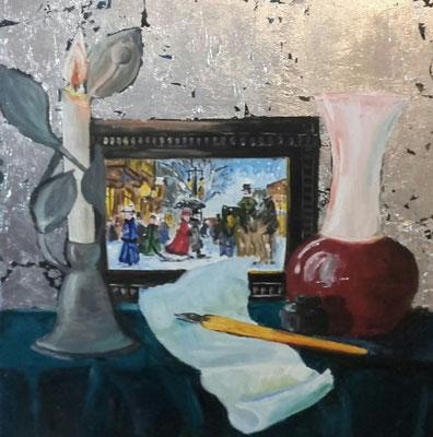Stillleben mit Kerze, Acryl, Blattsilber, 30x30, € 200,00
