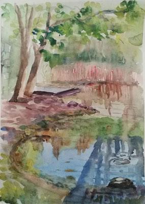 Im Nord-Ost Park, Aquarel von Alla Werr