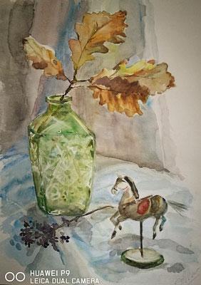 Stillleben mit dem Eichenzweig, Aquarell, 30x40, € 70,00