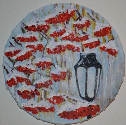 """""""Vogelbeere"""", Acryl, O 15, € 70,00"""