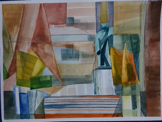 Bethoven Monument in Karlsbad, Aquarell