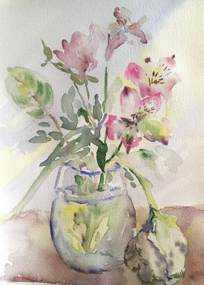 Blumen in der Vase, Aquarell, 18x24, € 30, 00