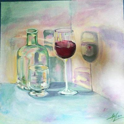 Stillleben mit dem Rotweinglass, Acryl, 40x40, das Bild hat einen neunen Besitzer gefunden!