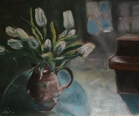 Tülpen und Klavier, Acryl 60x50, € 190,00