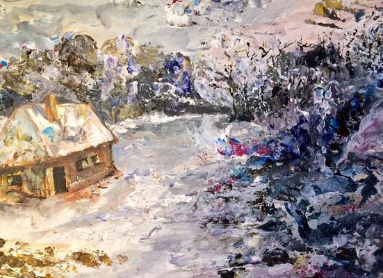 Winterlandschaft 3, Acryl, 30x40, € 100,00